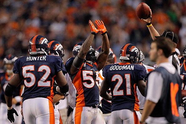 Linebacker D.J. Williams #55 of the Denver Broncos celebrates on the sidelines