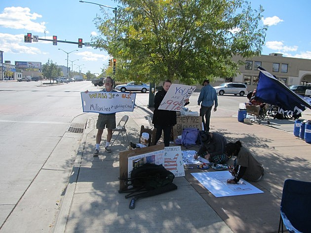 Occupy Fort Collins Protesters at College and Jefferson/Maple Oct. 18, 2011