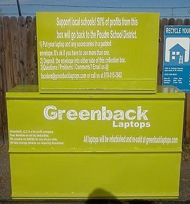 Greenback laptop recycling bin