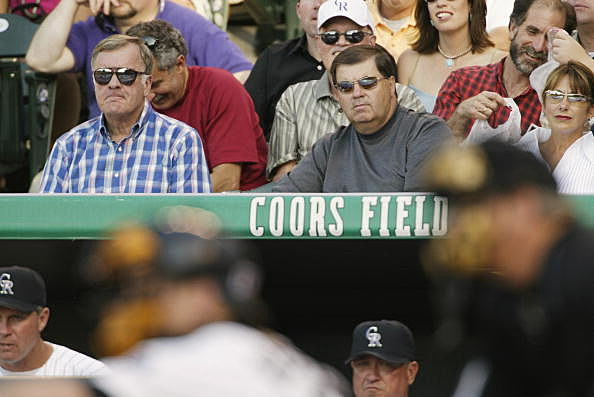 Jerry McMorris, owner of the Colorado Rockies, and Pierre Lacroix