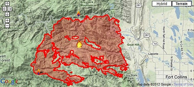 High Park Fire map as of Monday, June 11, 2012 8:30 p.m.