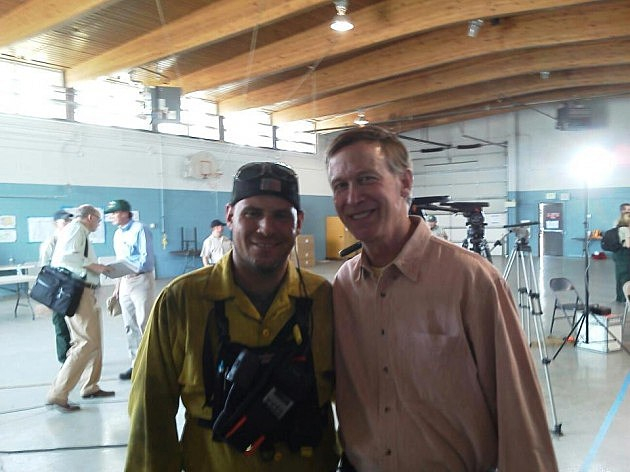 Firefighter impersonator picture with Governor Hickenlooper