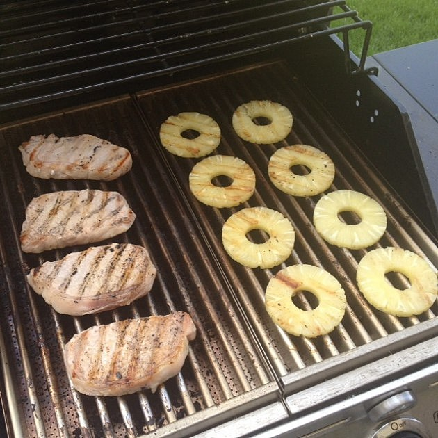 Grilled apple ginger pork chops with grilled pineapple