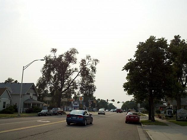 The hazy sky right outside the TRI-102.5 studio