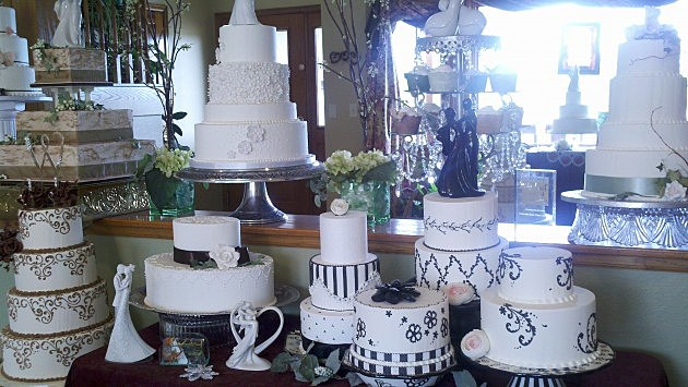 Just a few of the wedding cake displays at Colorado Rose.
