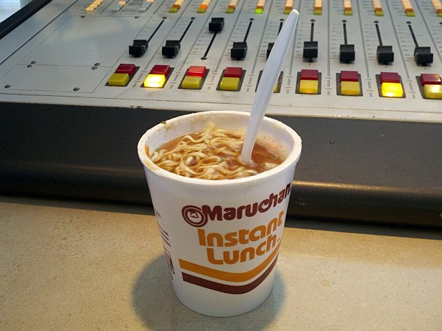 Cup-o-noodles: lunch of radio DJ's everywhere.