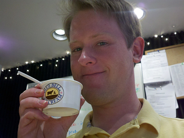 Drew with Blue Bell Ice Cream