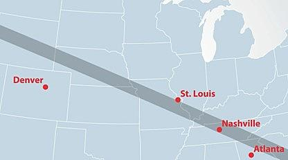The Best Seats For The Solar Eclipse Out Of Denver - Denver Circled On Us Map